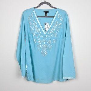 Lane Bryant Sequin Embroidered V-Neck Blouse NWT